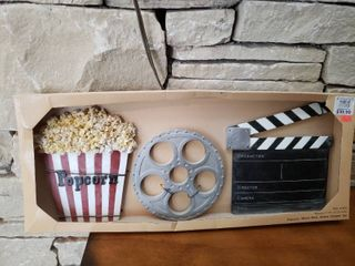 Popcorn  Movie Reel  Action Clapper Set   Wall Art   9  x 22