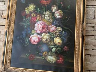 Still life of Flowers in Vase   Framed Oil Painting   46  x 38