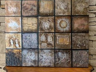 Painted Metal tone Squares   Wall Art   40  x 40