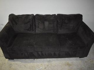 Black 3 Seat Couch   7  W x 3  D x 3  2  T