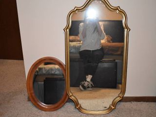 lot of 2 Wood Frame Mirrors   Taller Mirror   37  x 19