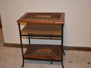 Wood Wicker Metal End Table   17  x 13  x 20 5