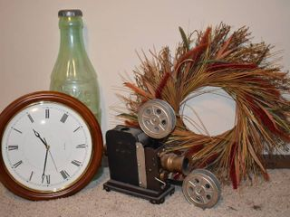 4 Decor Pieces   Wall Clock  Vintage Movie Projector Deco  Big Coke Coin Storage Bottle and Wreath   22  Wide