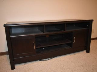 large Wide Dark Wood Cabinet   53 5  x 19 5  x 24 5