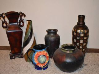 lot of 6 Assorted Vases   Tallest Vase   20 5