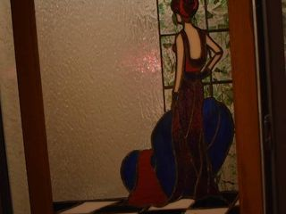 Stained Glass Art Piece   lady by the Window   23  x 19