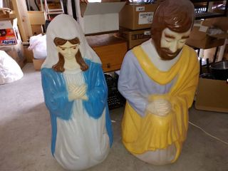Mary and Joseph light Up Plastic lawn Decor Pieces   Both light Up    3  4  Tall