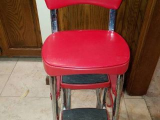 Vintage Cosco Red   Chrome Kitchen Step Stool Chair w  Slide out Steps   2  11  Tall