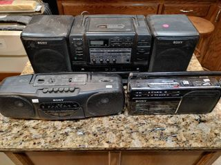 lot of 4 Sony Stereos   Model  s   CFD 545  CFS B11  CFM 130