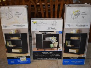 lot of 3 Mainstays NIB 3 Shelf Bookcases and TV Cart   Bookcase   32  W x 30  D x 12  T  Cart 23  W x 16  D x 21  T