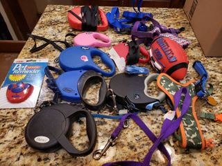 lot of 18 Dog Collars  leaches Toys etc   Various Sizes