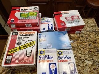 large lot light Bulbs   60 100 Watts 24 Boxes   Various Sizes