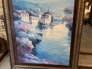 Countryside River Town Dock   Framed Wall Art   59  x 47
