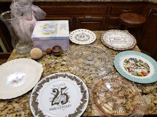 7 Plates  Vases etc    Anniversary Plates   Various Sizes