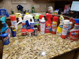 lot of 22 Cleaning Supplies   Resolve  Dishwasher Gel  WD 40 etc    Various Sizes