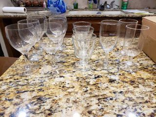 lot of 12 Glasses   2 Glasses are Plastic   Various Sizes and Stems   Various Sizes