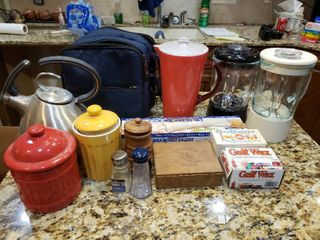 lot of 12 Mixed Kitchen lot   Picnic Bag  Teapot  Wax  Cookie Press etc    Various Sizes