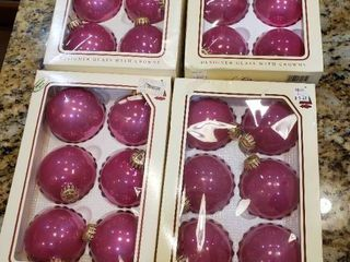 lot Of 4 NIB Glass Ornaments   6 In each box Total 24