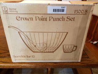 Anchor Hocking Punch Bowl Set   Service for 12