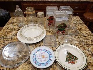 lot of 14 Mixed Glass   Plates  Pie Dishes   Canisters