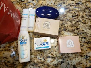 Bag Mixed Sample Personal Care Items   Shampoo  Soap  Shower Caps etc