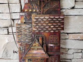 Metal Art Deco House   Wall Art   14  x 32