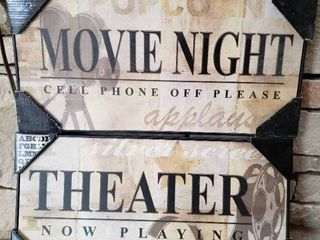 lot of 2 Movie Themed Decor Pieces   Wall Art   9 5  x 20