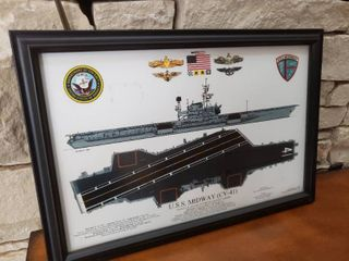 U S S Midway Top Side Profile   Framed Wall Art   19  x 13