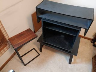 4 Small Office Furniture Pieces   Modern End Table   2  2  Tall