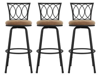 Arcadio Upholstered Seat Swivel Barstools   Set of 3