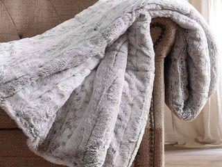 Christian Siriano NY Oversized Snow leopard Faux Fur Filled Throw