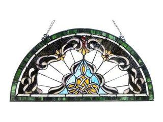Gracewood Hollow Delapaz Half Circle Glass Window Panel Suncatcher