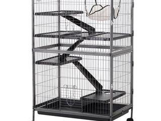 PawHut 4 Tier Steel Plastic Small Animal Pet Cage Kit w  Wheels