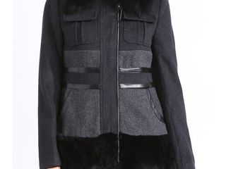 Womens Faux Fur Collar Slim Fit Wool Coat   Size 6
