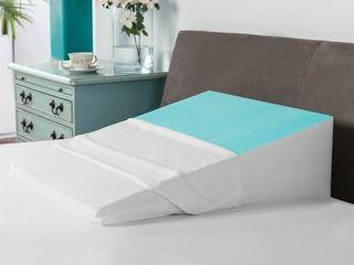 Swisslux Bed Wedge Pillow w  Cooling Gel Coated Memory Foam