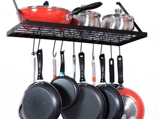 Wall Mount Pot Rack Kitchen Cookware Hanging Organizer w  15 Hooks