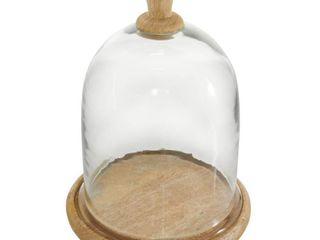Studio 350 Farmhouse Dome Shaped Wood Glass Cloche