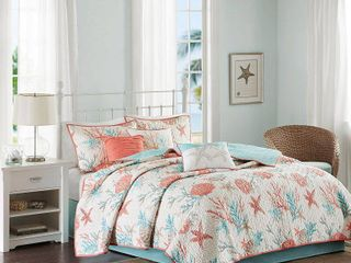 Madison Park Pacific Grove Coral Cotton Sateen Quilted Coverlet Set   Full Queen