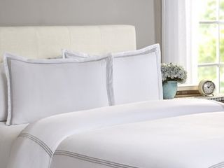 Echelon Home Three line Hotel Collection Cotton Sateen Duvet Cover Set   King