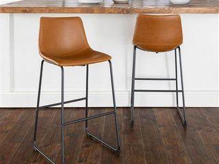 Carbon loft Prusiner Faux leather Bar Stools   Set of 2