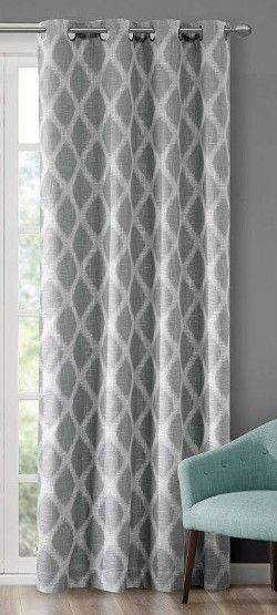 SunSmart Kagen Basket Weave Printed Ikat Blackout Curtain Panel