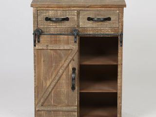 Wooden Rustic Sliding Barn Door Console Cabinet