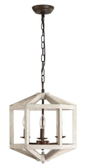Oaks Decor four light distressed white wooden chandelier Retail   187