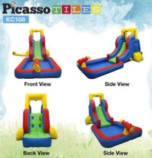 Picasso tiles Waterslide park with inflatable bouncy house With pool area KC108 Retail   200