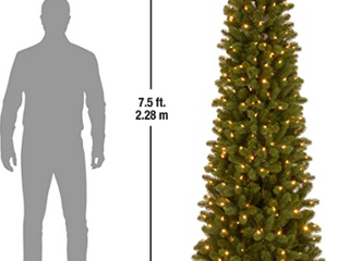 Feel Real  Down Swept Douglas Fir Pencil Slim Hinged 7 5 foot Tree with 350 Clear lights   7 5  Retail 158