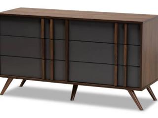 Naoki Modern and Contemporary 6 Drawer Columbia dark gray Bedroom Dresser Retail   240