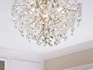 JoJo spring Dalia Elegant Indoor three light Brushed champagne Crystal flush mount Retail   152