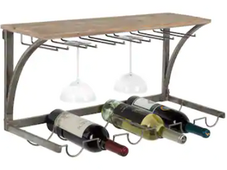 Kate and laurel Fairchild wood and metal wine rack Retail   98