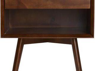 MCM 1 Drawer Solid Wood Nightstand   Walnut Retail   135