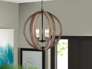 Capoli 4 light wooden orb chandelier Wood needs Glued